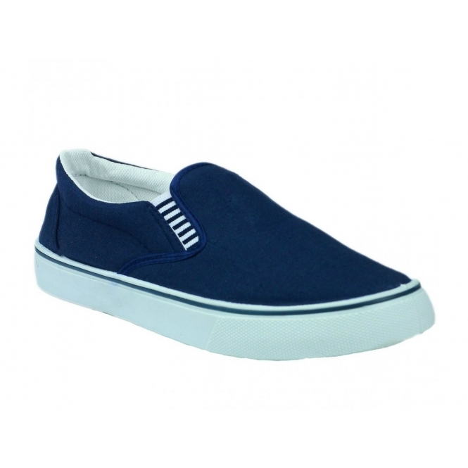mens yachting navy blue summer canvas trainers deck shoes