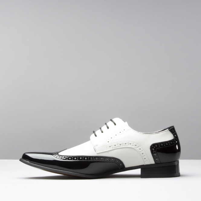 39a75ee7d40 ARTISTA Mens Pointed Faux Leather/Patent Shoes Black & White