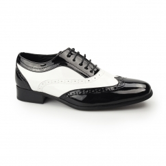 Mister Carlo BAGGIO Mens Semi Brogue Patent Shoes Black/White