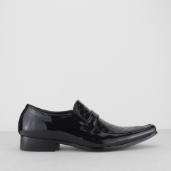 FLOYD Mens Faux Patent Leather Slip On Shoes Black
