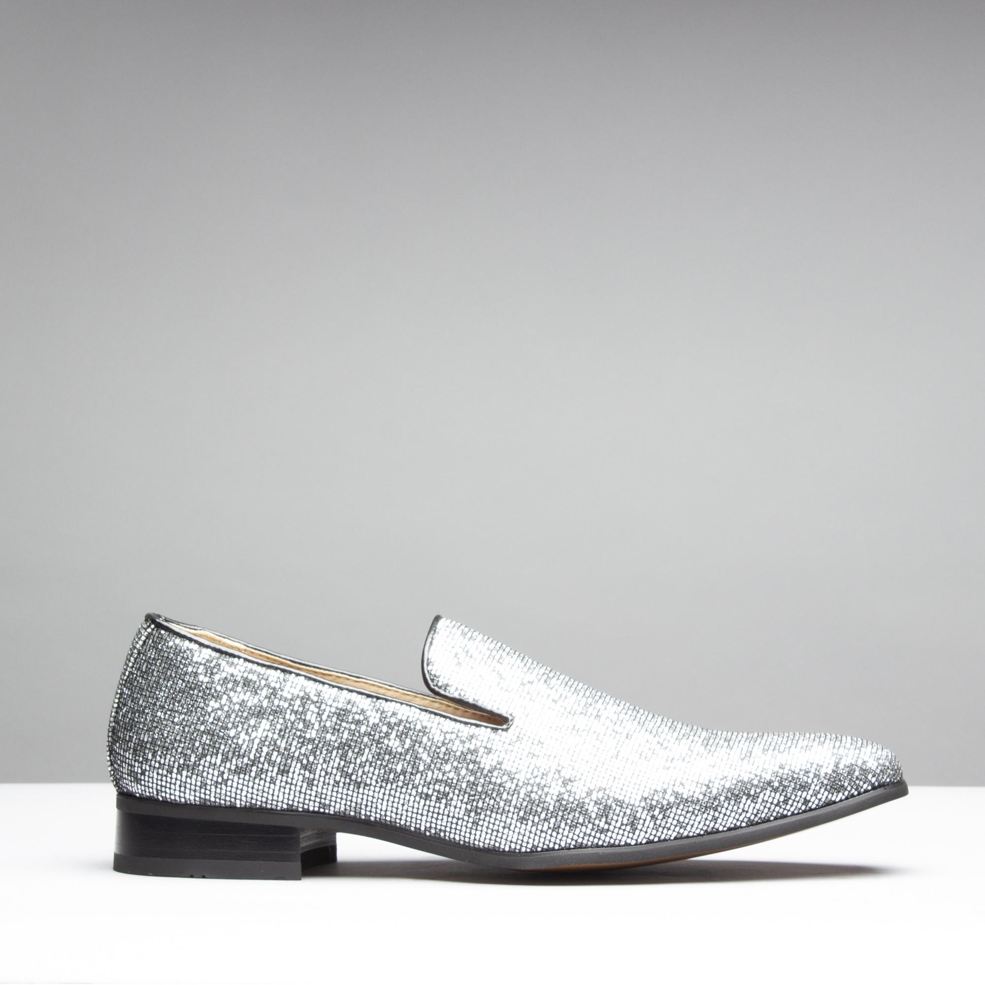 f658f7e6241 Mister Carlo JACKSON Mens Sparkling Loafers Black Silver