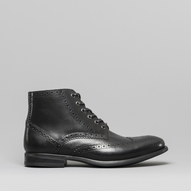 Black Leather Brogue Ankle Boots