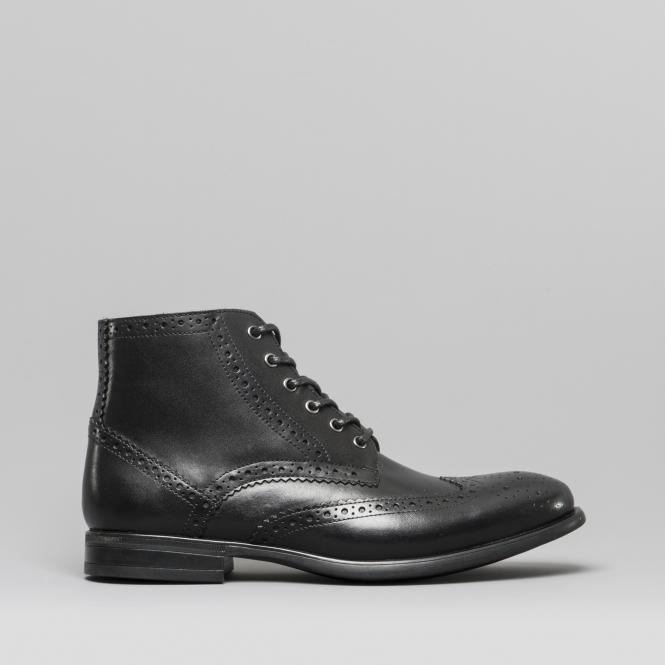 7168eb88 LEONARDO Mens Leather Brogue Ankle Boots Black