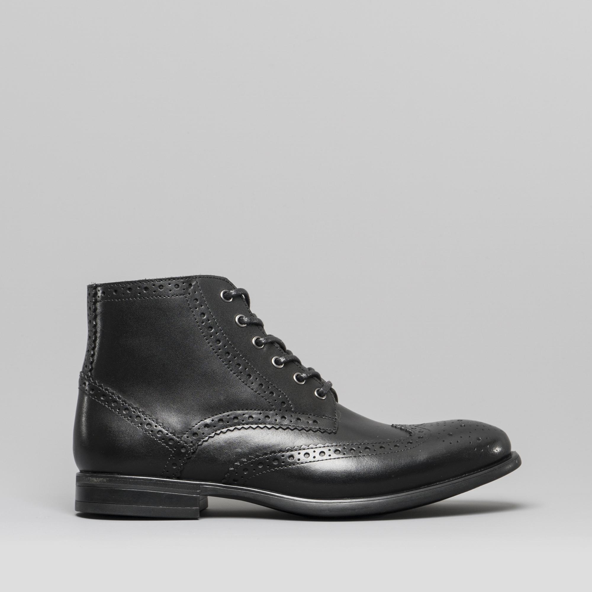 bf102a47ecfa2d Mister Carlo LEONARDO Mens Leather Brogue Ankle Boots Black | Shuperb
