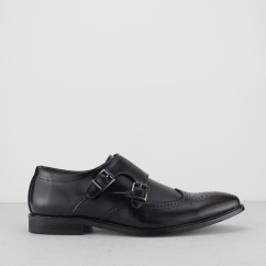 LUTHER Mens Double Monk Strap Shoes Black
