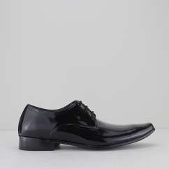 OSWALD Mens Faux Patent Leather Derby Shoes Black