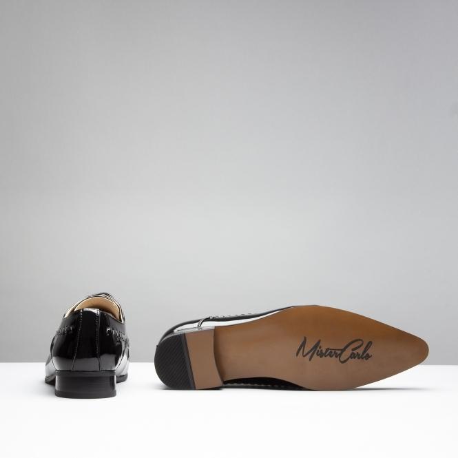 Mister Carlo PARIS Mens Faux Patent Leather Smart Derby Lace Up Shoes White