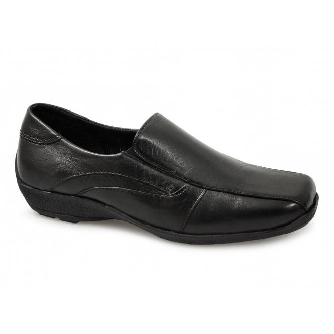 Mod Comfys DAWN Ladies Soft Leather Wedge Loafers Black