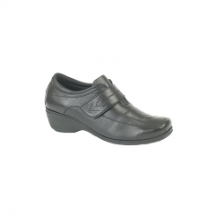 KAREN Ladies Touch Fasten Wedge Leather Shoes Black