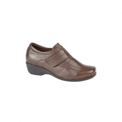KAREN Ladies Velcro Wedge Leather Shoes Brown