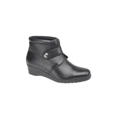 MICHAELA Ladies Leather Velcro Boots Black