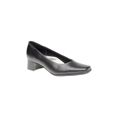 TARA Ladies Low Block Heel Court Shoes Black
