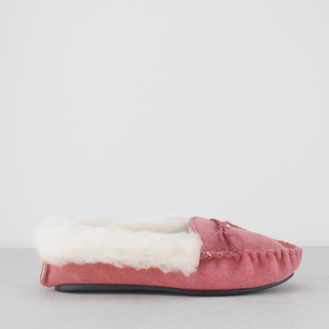 Mokkers KIRSTY Ladies Moccasin Slippers Pink