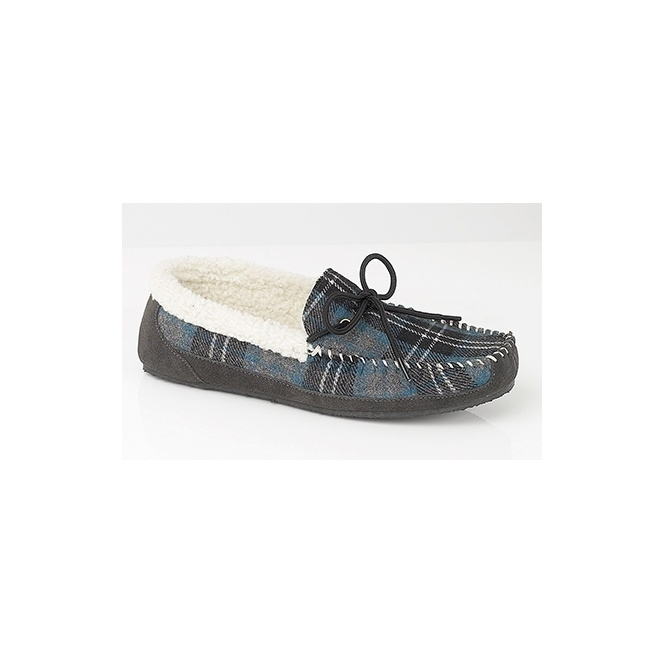 Mokkers NICHOLAS Mens Moccasin Slippers Blue