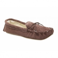 SHERIDAN Boys Suede Warm Lined Moccasin Slippers Dark Taupe