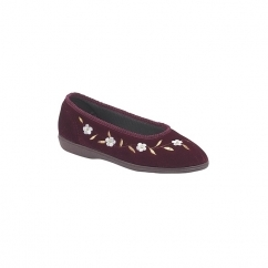 MONICA Ladies Velour Embroidered Floral Slippers Plum