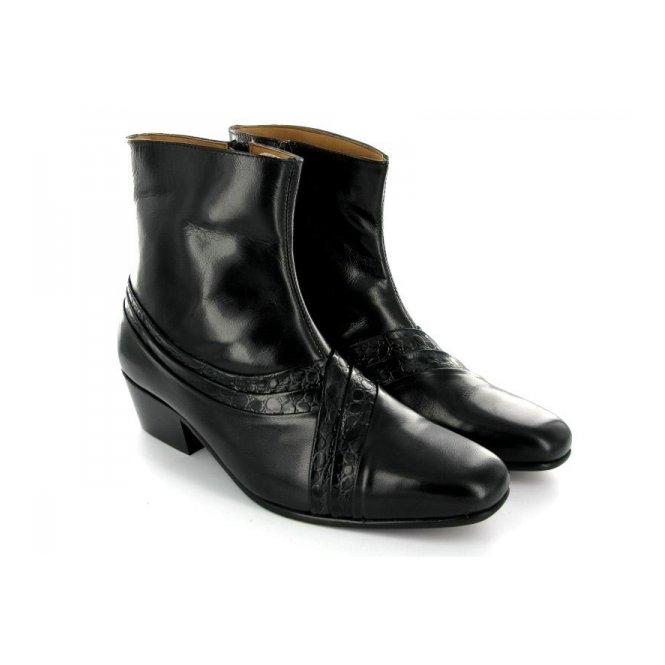 bd0d720ac7b ARTURO Mens Cuban Heel Reptile Leather Boots Black