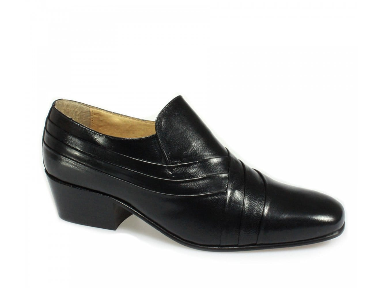 Mens Montecatini Cuban Heels Black Leather Shoes