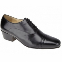 REYES Mens Cuban Heel Lace Up Shoes Black