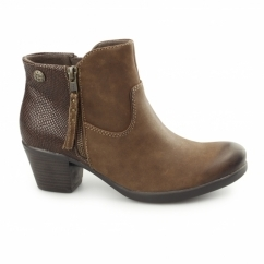 MONTGOMERY Ladies Leather Reptile Zip Ankle Boots Bark