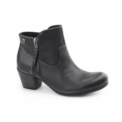 MONTGOMERY Ladies Leather Reptile Zip Ankle Boots Black