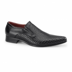 MONTIAGO Mens Pointed Loafers Weave Black