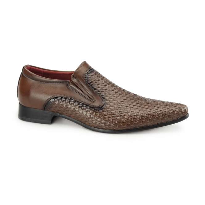 Rossellini MONTIAGO Mens Pointed Loafers Weave Brown