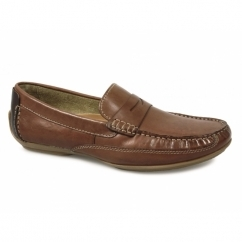 MONZA Mens Leather Driving Loafers Maya Tan