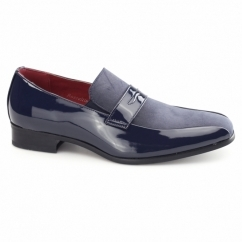 MONZESE Mens Patent Faux Leather Loafers Blue