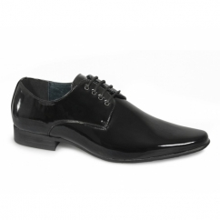 MORGAN Mens 4 Eyelet Pointed Patent Dress Shoes Black