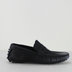 Base London MORGAN OILY Mens Leather Moccasin Shoes Black