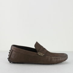 Base London MORGAN OILY Mens Leather Moccasin Shoes Brown