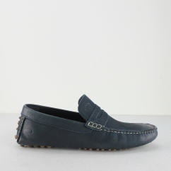 Base London MORGAN OILY Mens Leather Moccasin Shoes Navy