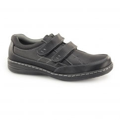 MOSTON Mens Touch Fasten Wide Fit Shoes Black