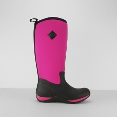 ARCTIC ADVENTURE Ladies Wellington Boots Black/Hot Pink