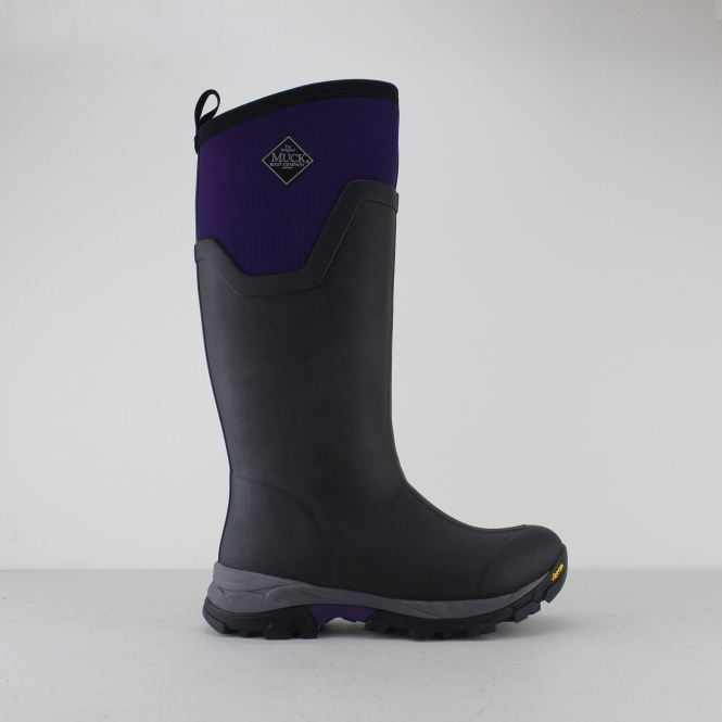5ee2407c44986 Muck Boots ARCTIC ICE TALL Ladies Wellington Boot Black/Purple | Shuperb