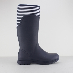 CAMBRIDGE Ladies Tall Wellington Boots Navy/White Stripe