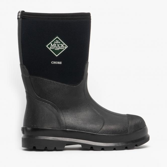 5891d4615cf CHORE MID Unisex Rubber Wellington Boots Black