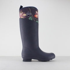 TREMONT RHS PRINT Ladies Floral Wellington Boots Navy/Floral
