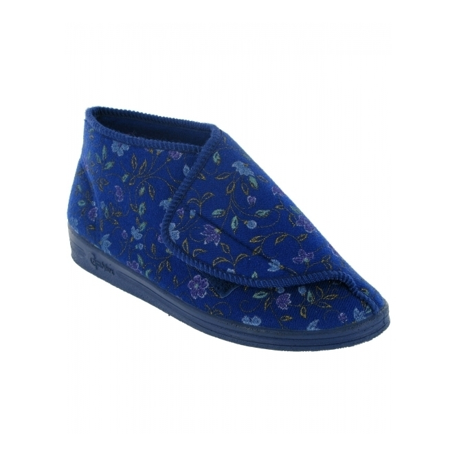Comfylux MULL Ladies Floral Wide Fitting Bootie Slippers Blue