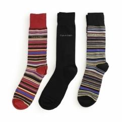 MULTI STRIPE Mens Cotton Socks 3 Pack Black Stripe/Black/Red Stripe