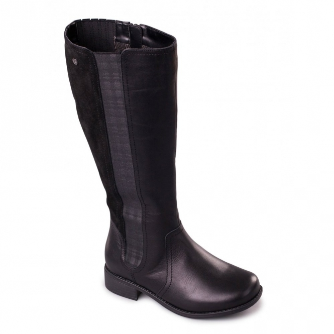 Padders MYRA Ladies Leather Zip Extra Wide Plus Tall Boots Black