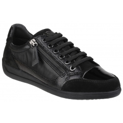 MYRIA Ladies Suede Leather Lace Up Comfort Trainers Black
