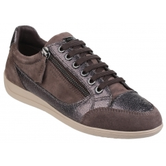 MYRIA Ladies Suede Leather Lace Up Comfort Trainers Chestnut/Gunmetal