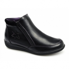 NANCY Ladies Zip Dual Fit Wide EE/EEE Boots Black