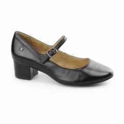 NARA DISCOVER Ladies Leather Mary Jane Heel Shoes Black