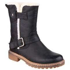 NARDO Ladies Faux Leather Fluffy Boots Black