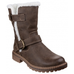 NARDO Ladies Faux Leather Fluffy Boots Brown