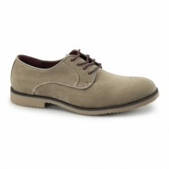 NASHVILLE Mens Faux Suede Lace Up Desert Shoes Beige