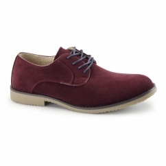 NASHVILLE Mens Faux Suede Lace Up Desert Shoes Burgundy